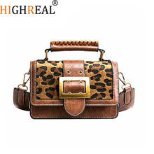 HIGHREAL Winter Crossbody Bags Vintage Fashion Women Tote Bag Leopard Printing Shoulder Bags Christmas Gift Drop Shipping