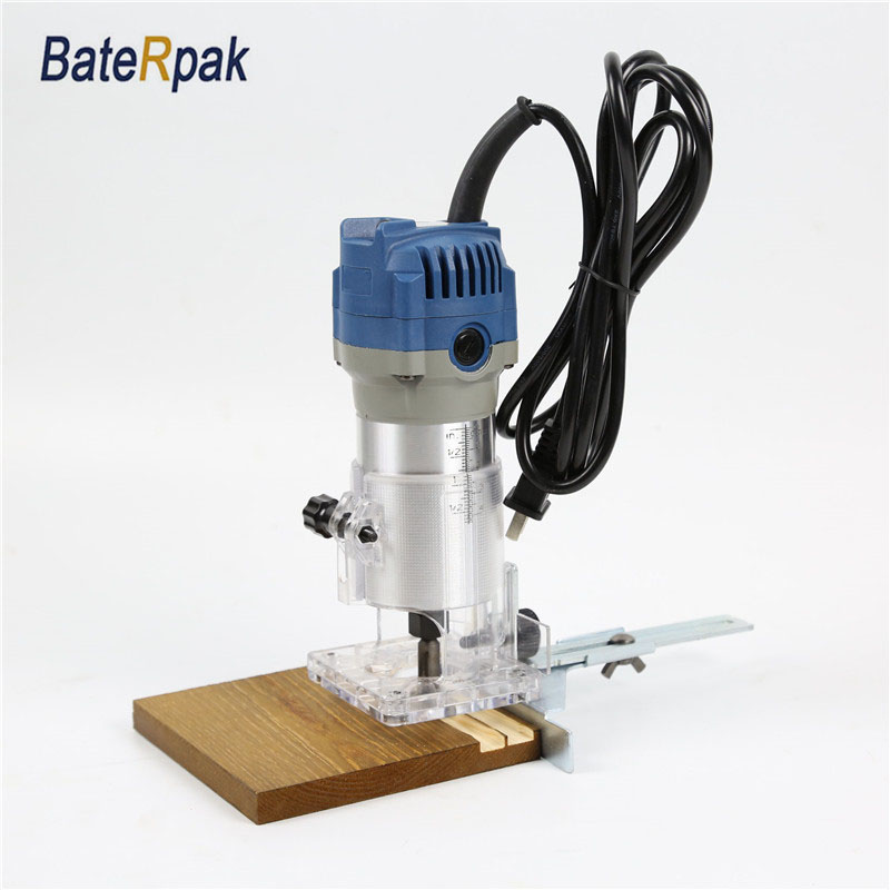 BateRpak Hand Electric Trimmer,DIY Woodworking slotting machine/Milling machine,Free with Router bits,220V/50Hz,30000rmp/550W 1 2 5 8 round nose bit for wood slotting milling cutters woodworking router bits