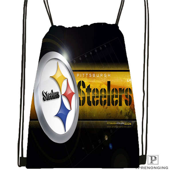 Custom Steelers Moon Drawstring Backpack Bag Cute Daypack Kids Satchel (Black Back) 31x40cm#2018612-01-15
