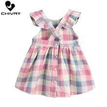 Little Girls Summer Dress Toddler Kids Baby Girls Colorful Plaid Sleeveless Cross Strapless Loose A-line Dresses Princess Dress цена 2017