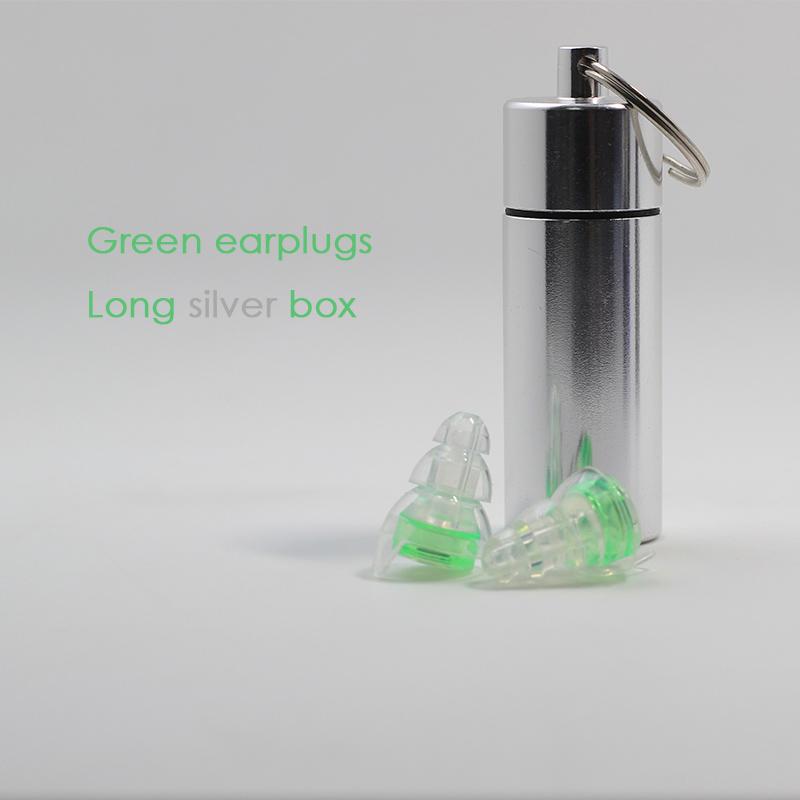 Green earplugs + Long silver box