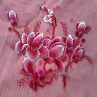 Apliques de gran calidad Rosa bordado flor Organza tela parche grande encaje guipur africano pegatina tela vestido accesorio coser