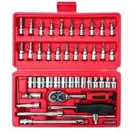 전문 하드웨어 자동차 수리 도구 46 개/상자 소켓 세트 래칫 토크 렌치 콤보 도구 키트 자동차 수리 액세서리