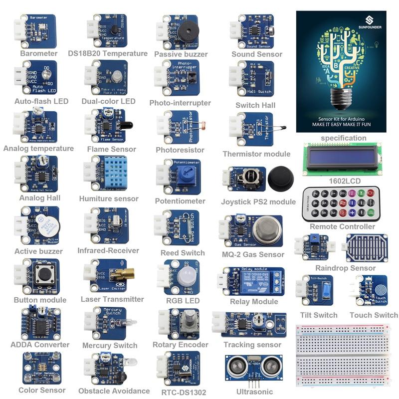 Kit de capteur sunfondateur 37 Modules V2.0 pour Arduino UNO R3 Mega2560 Mega328 utilisateur d'éducation Nano et MCU