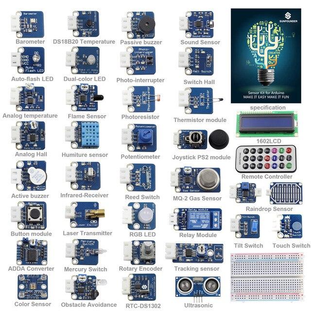 SunFounder 37 מודולים חיישן ערכת V2.0 עבור Arduino UNO R3 Mega2560 Mega328 ננו & MCU חינוך משתמש