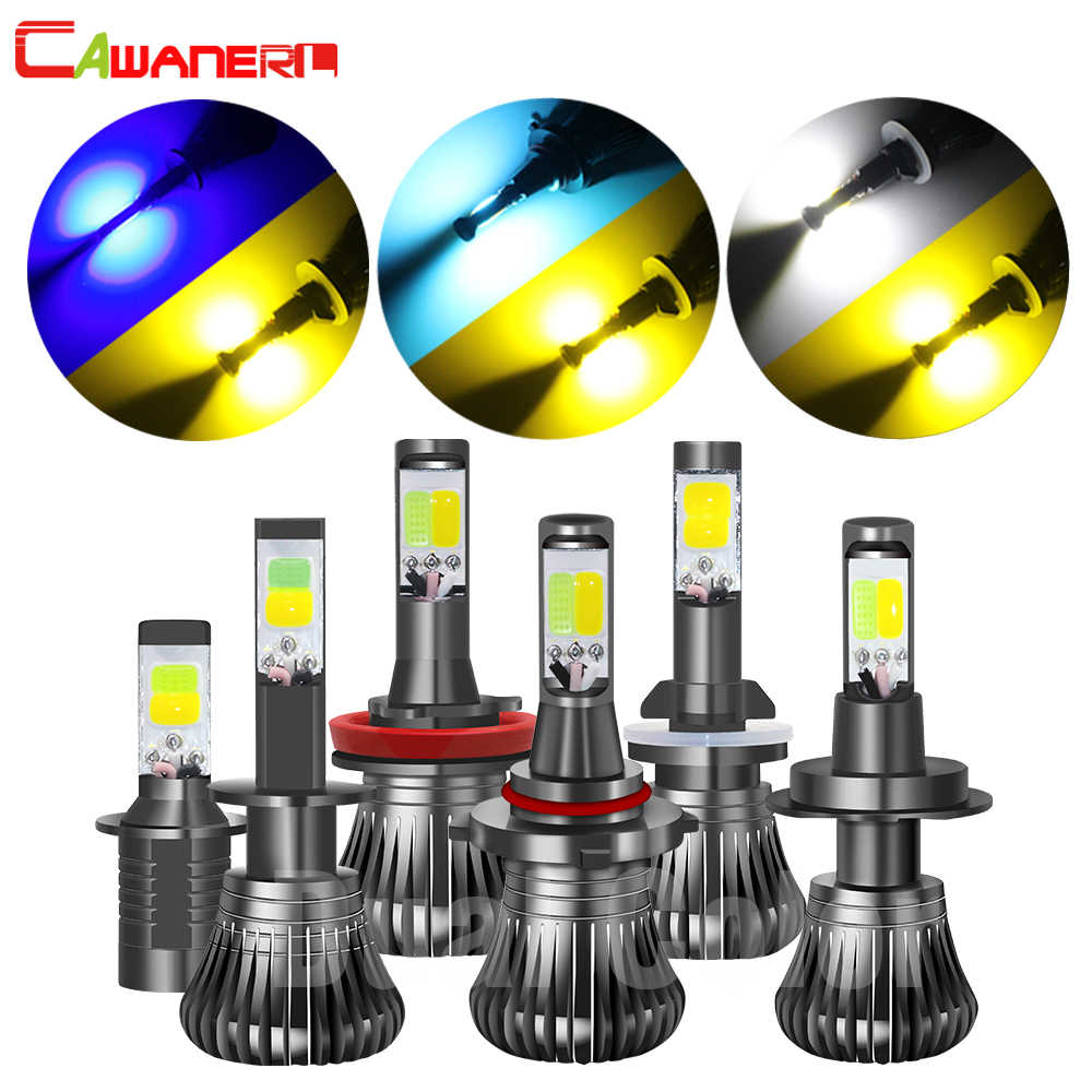 Cawanerl Double Color H7 H1 LED Fog Light 80W 4000LM /Set H3 H8 H11 9005 HB3 9006 HB4 880 881 Car Fog Lamp Driving Daytime Light
