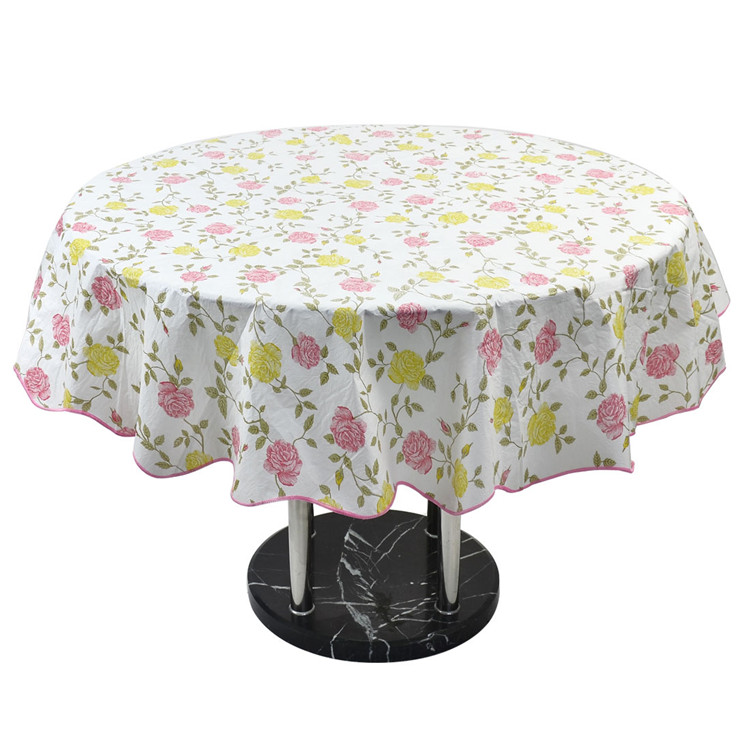 Charming Water Resistant Oil Proof Tablecloth Home Picnic Round Flower Pattern Table  Cloth Cover 60 Inch