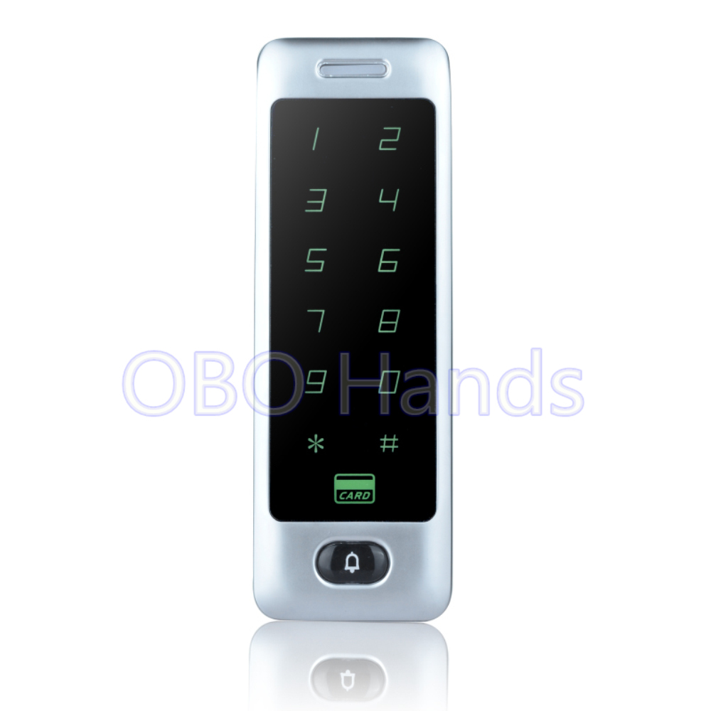 RFID Standalone Touch Access Controller Metal Keypad RFID Door Lock Access Control System With Door Bell Function-C40 silver