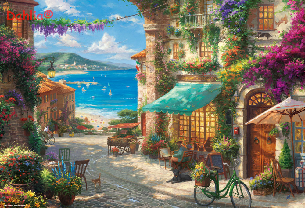 Romantic Seaside Town Scenery Handmade Needlework Embroidery DIY DMC Cross Stitch Kits Crafts 14CT Unprinted Home Decor Wall Art