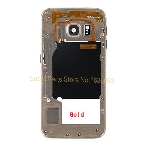 100% Оригинал Новый для Samsung GALAXY S6 Edge Назад Середина Ближний Рама Задняя Крышка Корпуса Рамка Запасные Части с Отслеживая