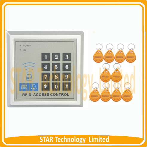 Free Shipping standalone rfid door access control/smart card access control+10 Key fobs