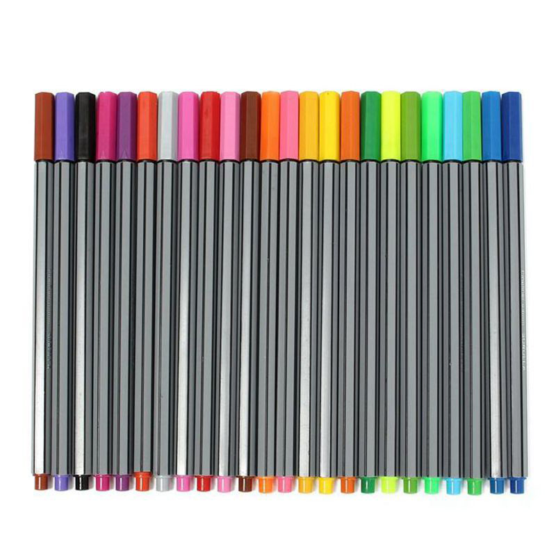 0.4MM 24 Colors Fineliner Pens Marco Super Fine Draw Marker Pen Water Based Assorted Ink No-tox Material Not Stabilo Point 88