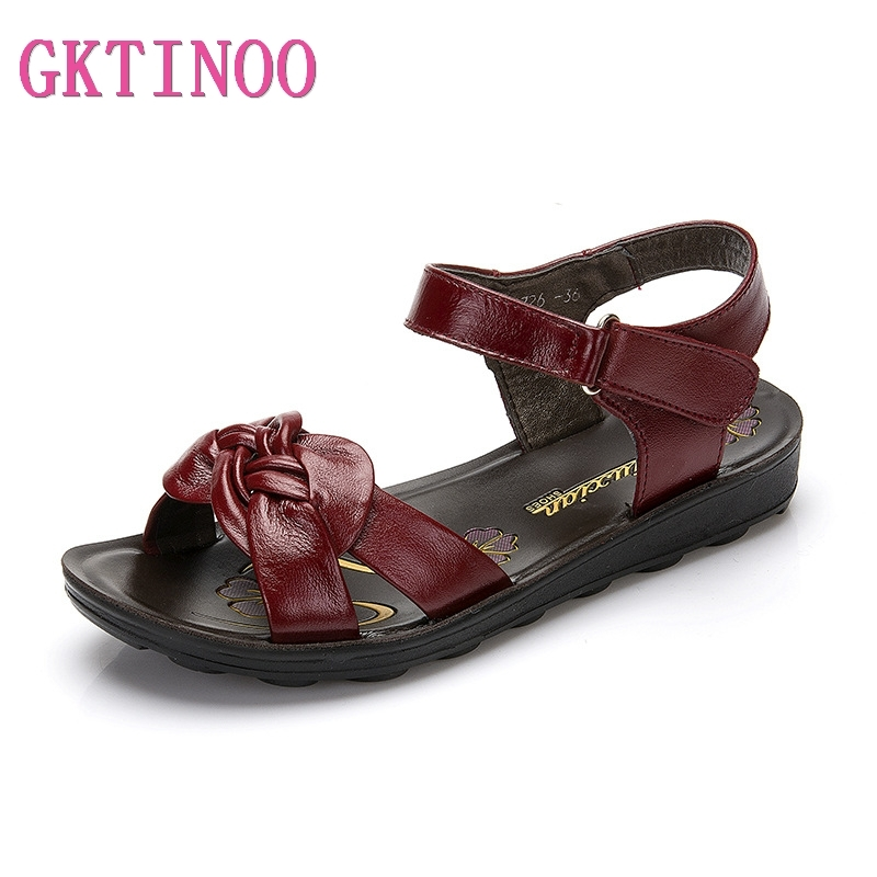 GKTINOO Summer Women Genuine Leather Sandals Vintage Ladies Flat Sandials Ankle Strap Fashion Casual Platform Soft ShoesLow Heels   -