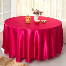 120inch Big Size fuchsia Satin Round Table Cloth Wedding Tablecloth Party Table Cover Table 305cm Wholesale