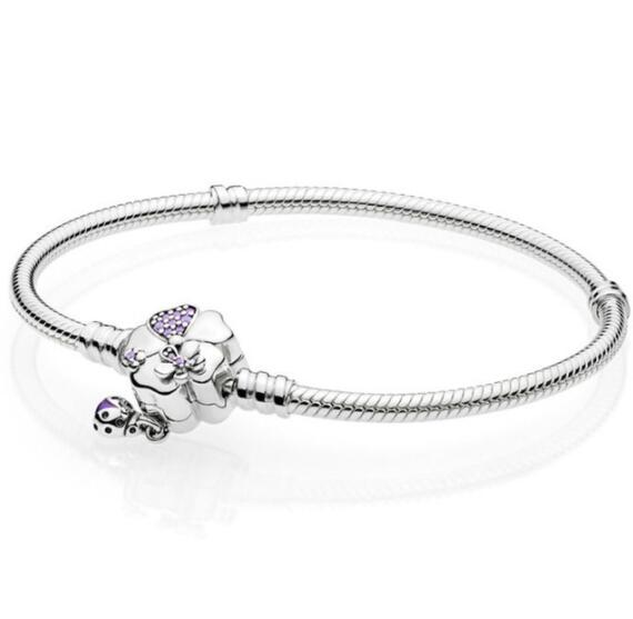 Authentic 925 Sterling Silver Wildflower Meadow Floral Clasp Snake Chain Pandora Bracelet Bangle Fit Bead Charm Diy Jewelry