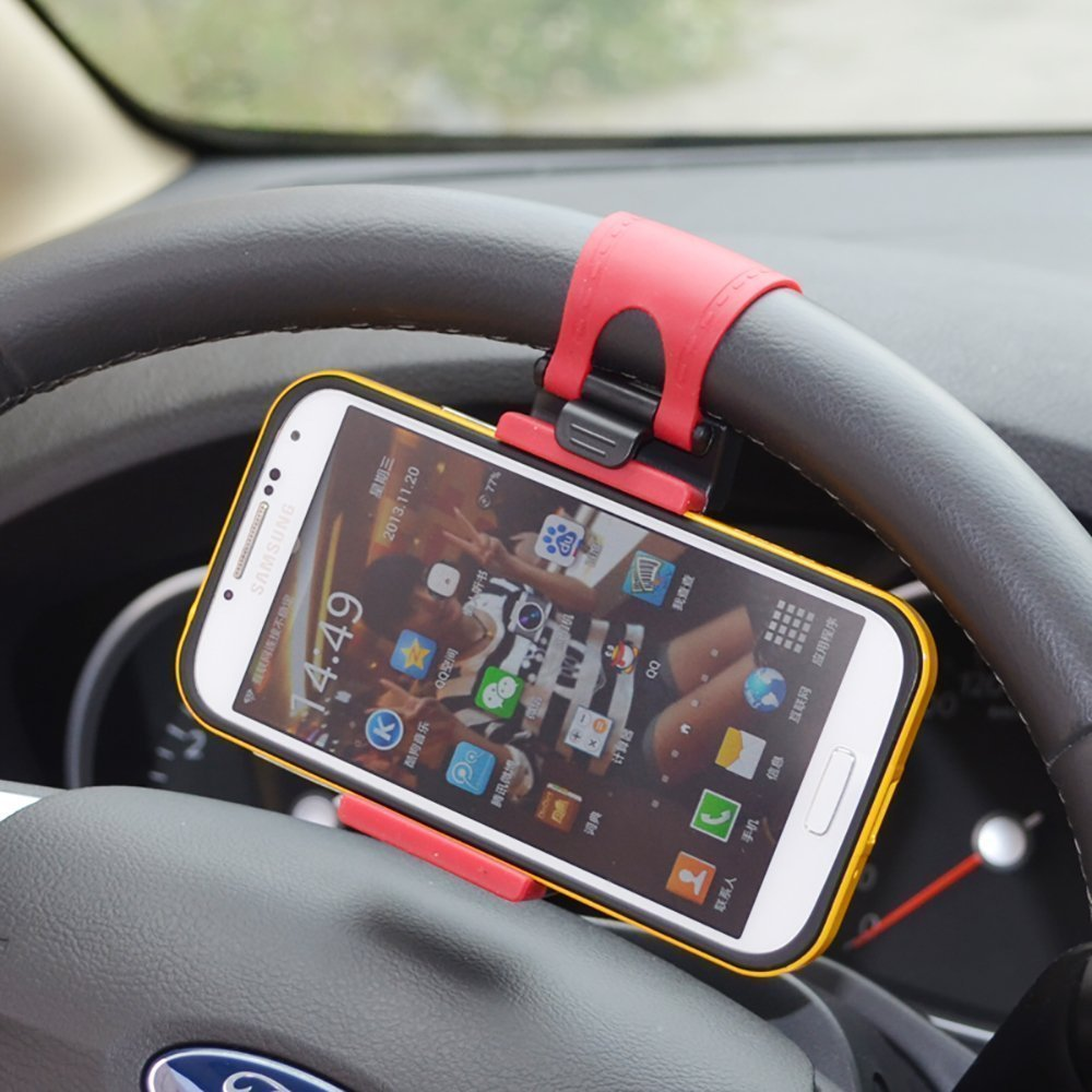 Universal Car Steering Wheel Clip Mount Holder Cradle Stand For iPhone5 6 plus Samsung HTC Mobile