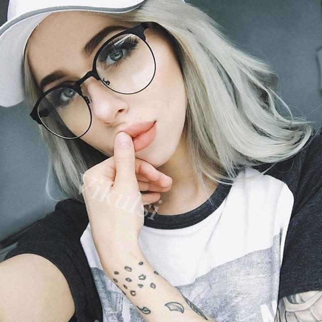 Falso Rodada Limpar Óculos De Meia Armação Óculos Transparentes Mulheres  Óculos Olho de Gato Lente Clara 354159ca16