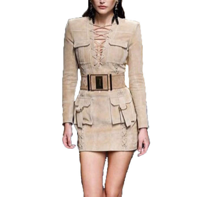 HIGH QUALITY Newest Fashion 2017 BAROCCO Unique Runway Dress Women's Long Sleeve Deep V Lacing Vintage Faux Suede Dress