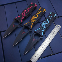 Tactical Fold Knife Survival Outdoor Training Knife High Quality Dragon Laser Rescue Knife Best Hardness With