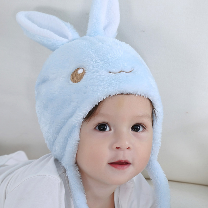 Rabbit/Bear Ears Cute Baby Hat Soft Cotton Newborn Baby Beanie Double Layer Warm Winter Hat for Baby Girls Boys Knitted Kids Hat