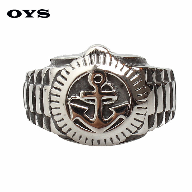 Mens Vintage Navy Anchor Ring Free Gift Jewelry Bag 316L Stainless Steel Gothic Biker Rings Men Jewelry
