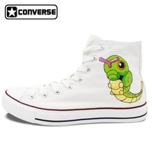 Pokemon Go Caterpie Boys Girls Converse All Star Man Woman Shoes Custom Hand Painted High Top Canvas Sneaker Men Women