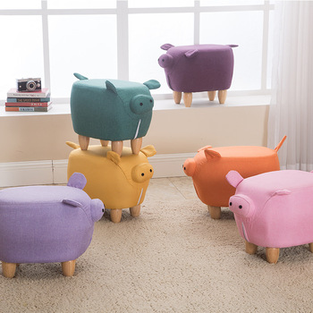 Children Storage stool popularity pig creativity solid wood Folding
