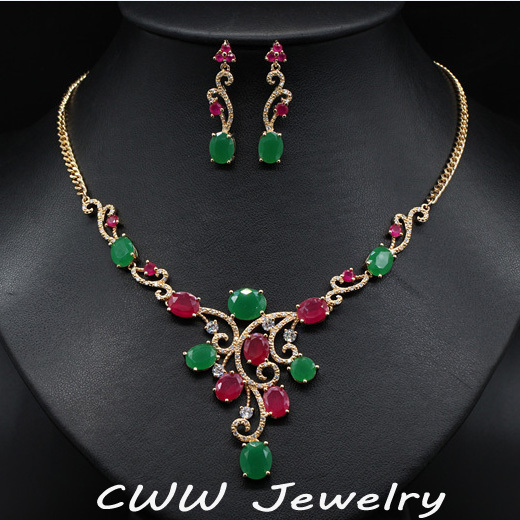 CWWZircons Vintage Yellow Gold Color Natural Red And Green Created Emerald Bridal Necklace Earrings Jewelry Set For Wedding T122