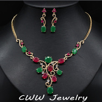 Vintage 18K Gold Filled Natural Red Ruby And Green Emerald Bridal Necklace Earrings Jewelry Sets For