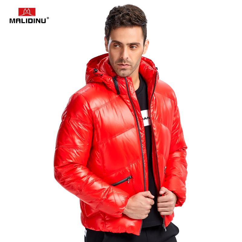 MALIDINU 2018 Fashion Men   Down   Jacket Winter Thick   Down     Coat   Brand 70%White Duck   Down   Winter Parka Detachable Hood Free Shipping