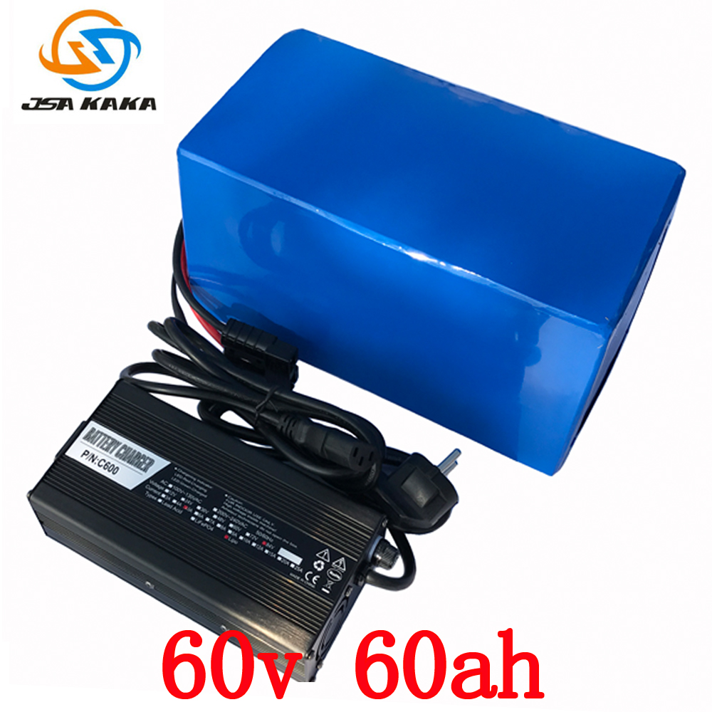 Free shipping  60v 4000w E-Bike Electric Bicycle battery 60v 60ah  For Panasonic cell ebike li-ion battery pack with 5A Charge free customs taxes electric bike 36v 40ah lithium ion battery pack for 36v 8fun bafang 750w 1000w moto for panasonic cell