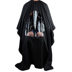 Image 2 - 115*80cm profissional à prova dwaterproof água estilo salão de beleza barbeiro cabeleireiro corte cabelo vestido de cabeleireiro capa com visualização avental janela