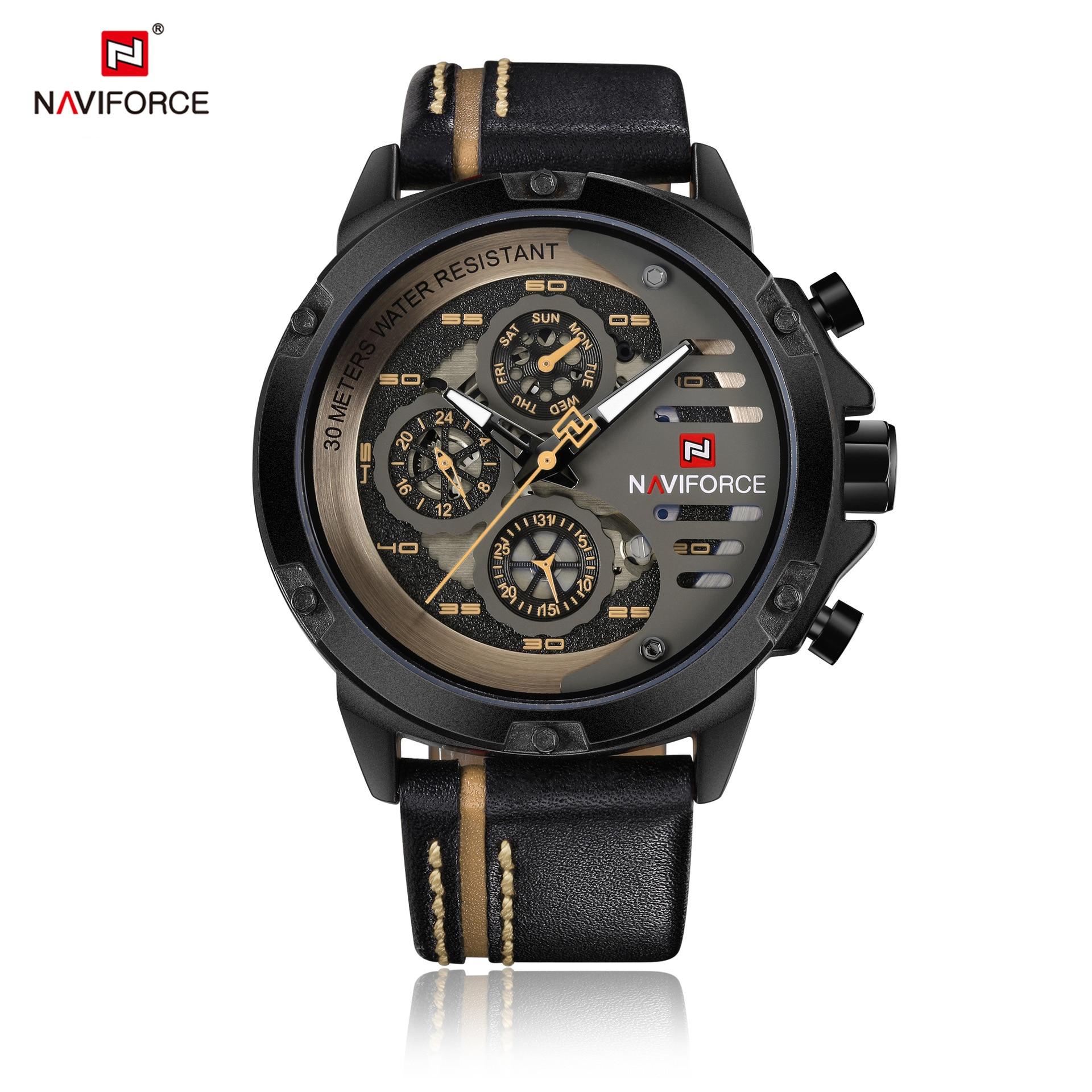 NAVIFORCE Mens Watches Top Brand Luxury Waterproof 24 hour Date Quartz Watch Man Leather Sport Wrist Watch Men Waterproof Clock цена