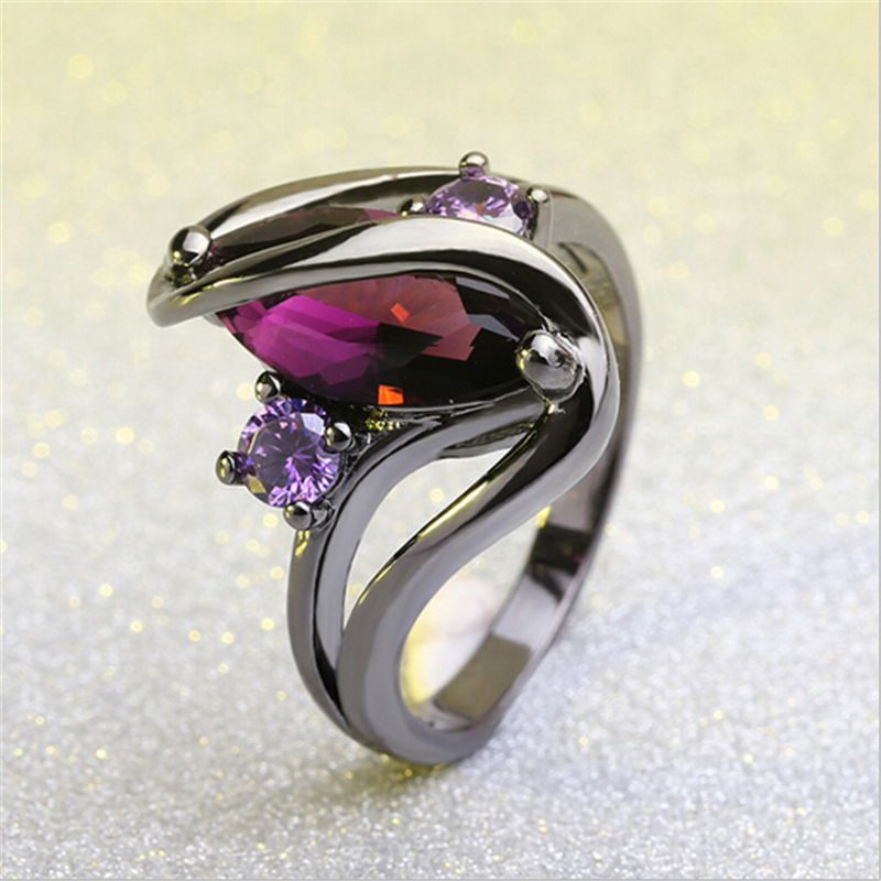 Hot Fashion Luxury Vintage Purple Zircon CZ Crystal Colorful Rings For Women Wedding engagement Jewelry stainless steel rings 2