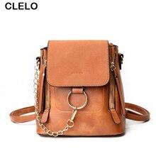 Clelo 2017 новая мода женские PU Рюкзак кольцо цепь сумка женская для школьницы дорожные сумки повседневные двойного назначения сумка