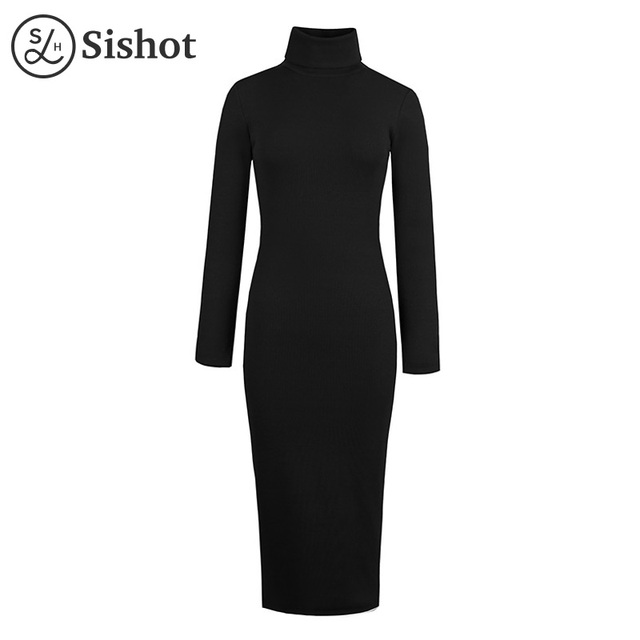 Sishot women casual dresses 2017 autumn turtleneck lace up burgundy long sleeve fall mid calf black gray bodycon casual dress