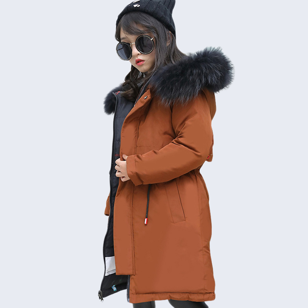 Teen Girls Winter Jacket -30 degree Fur Hooded Thick Long Down Kids Girls Winter Coat Warm Coat Teenage Outwear 6 10 12 14 Year стоимость