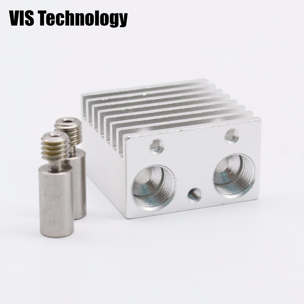 2pcs V6 kit heat break throat+ 1pcs Heat Sink for 1.75mm dual extruder Reprap Kossel 3D printer parts Makerbot UM2