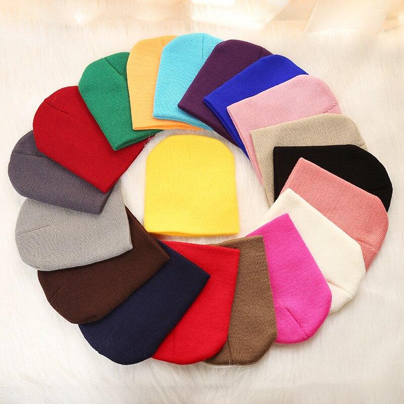 Men's Skullies & Beanies Solid Beanies Hat For Kids Baby Girls Boys Autumn Winter Caps Warm Soft Candy Knitted Bonnet Hats Skullies Toddler Children Cap Apparel Accessories