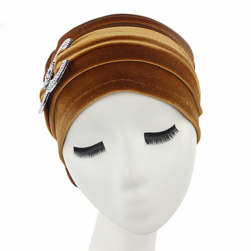 New Double C Standard Gold Velvet Pile Heap Cap Pack Hair Long Hat Muslim Head Scarf