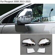 Coche ABS decoración cromada palo vista trasera espejo retrovisor lateral de vidrio cubierta de molduras de Marcos 2 uds para Peugeot 3008, 2013, 2014, 2015