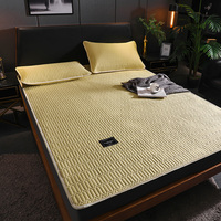 Nordic Summer Sleeping Bed Mat Foldable Bed Topper Sheet Solid Color Quilted Mat Ice Silk Mat Bed Mattress Protector Cover