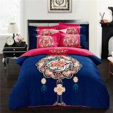 Svetanya Sheet Pillowcases & Duvet cover Sets 100% Sanding Cotton Bedlinen Queen Full King Size Bedding Set Blue and Rose