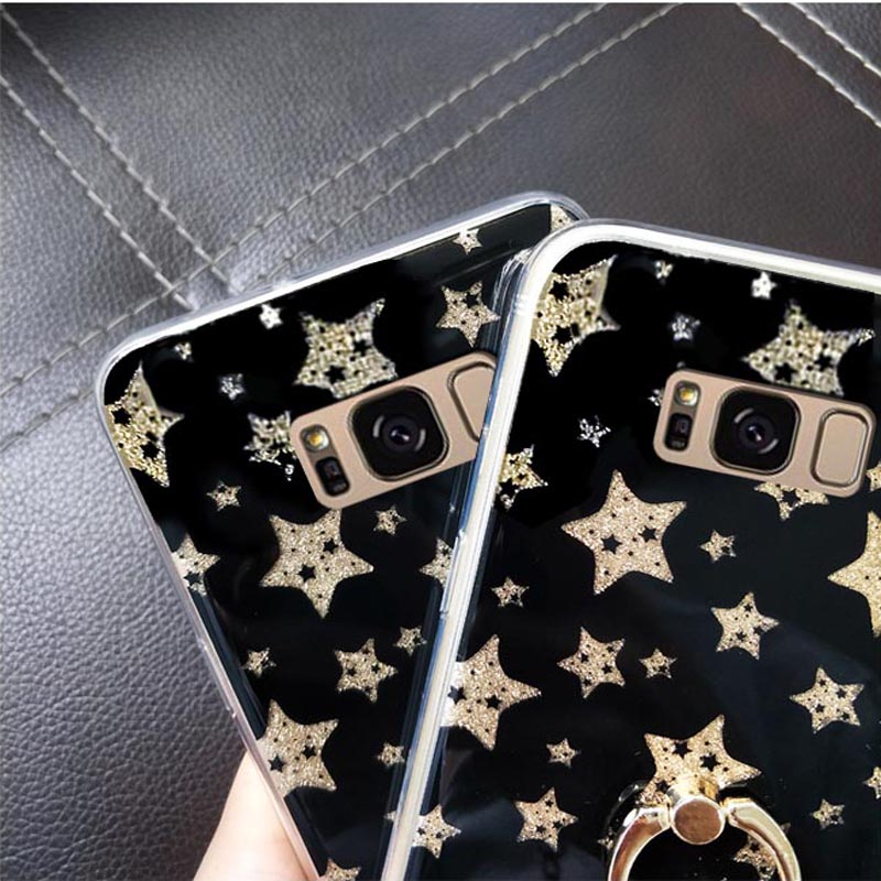 For samsung s7 edge s8 S9 plus note 8 j7 j5 j3 j2 prime pro 2017 A8 plus 2018 case glitter stars bling diamond ring tpu+pc cover