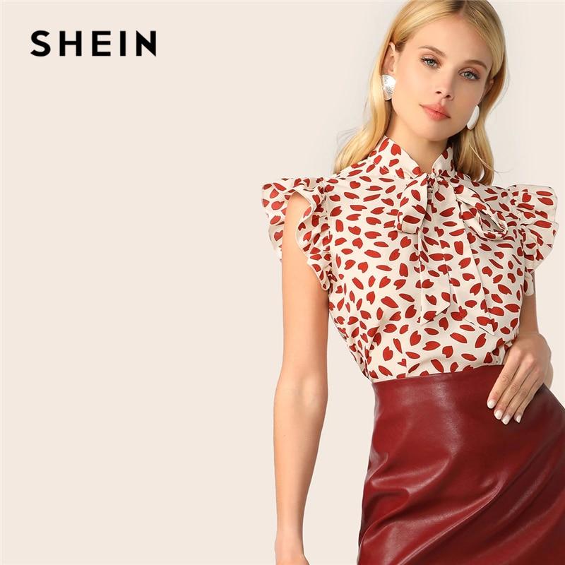SHEIN Elegant Red Bow Tie Neck Ruffle Trim Petal Print Top Blouse Women Summer 2019 Office Lady Workwear Sleeveless Blouses|Blouses & Shirts|   - AliExpress