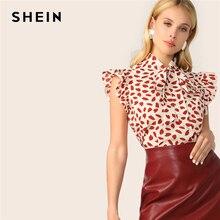 SHEIN elegante Red Bow Tie Neck Ruffle Trim pétalo estampado Top blusa mujer verano 2019 Oficina señora ropa de trabajo blusas sin mangas