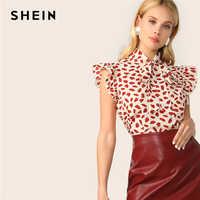 Shein elegante laço vermelho pescoço plissado guarnição pétala impressão topo blusa feminina verão 2019 senhora do escritório workwear blusas sem mangas