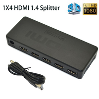 4 Puerto 3D HDMI Splitter 1x4 HDMI 1.4 distribuidor HDMI Full HD 1080 p 1 en 4 fuera HDMI con cable para HDTV DVD monitores/Proyectores
