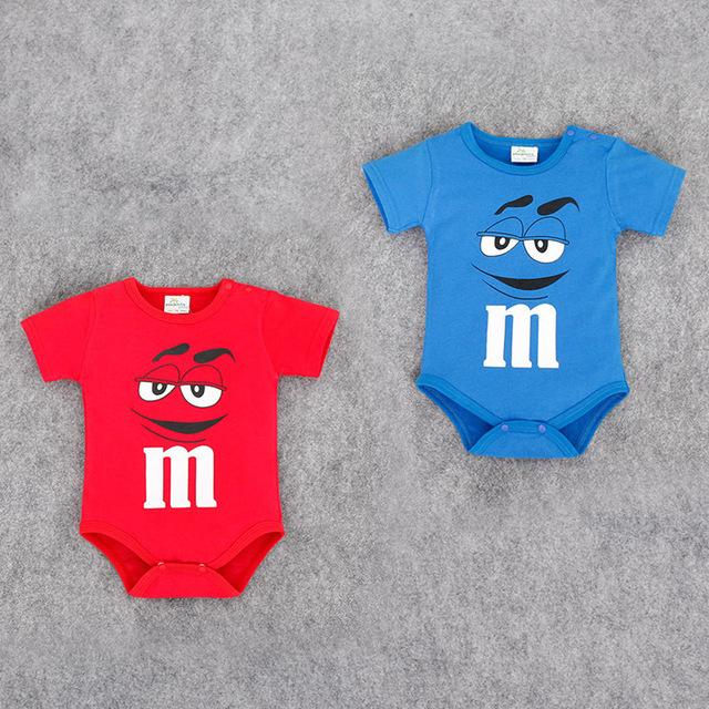 Baby clothing gêmeos do bebê de algodão macacão de manga curta triângulo subir roupas encantador dos desenhos animados rainbow açúcar