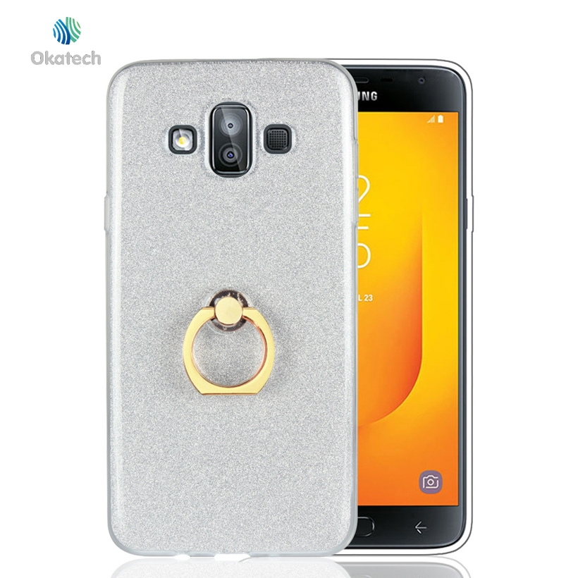Okatech Phone Case For Samsung Galaxy J7 Duo Cases For Samsung Galaxy J7 Duo 5.5 inch Cover Glitter Silicon Glossy Finger Ring